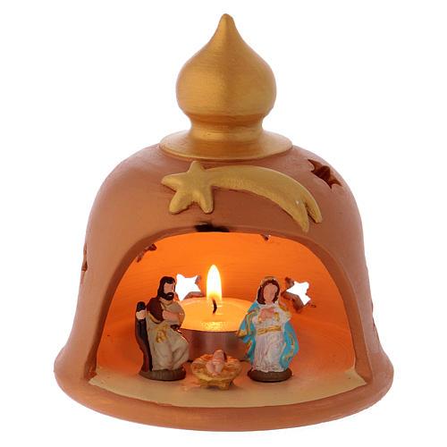 Capanna con lume decorata terracotta Deruta 10 cm 1