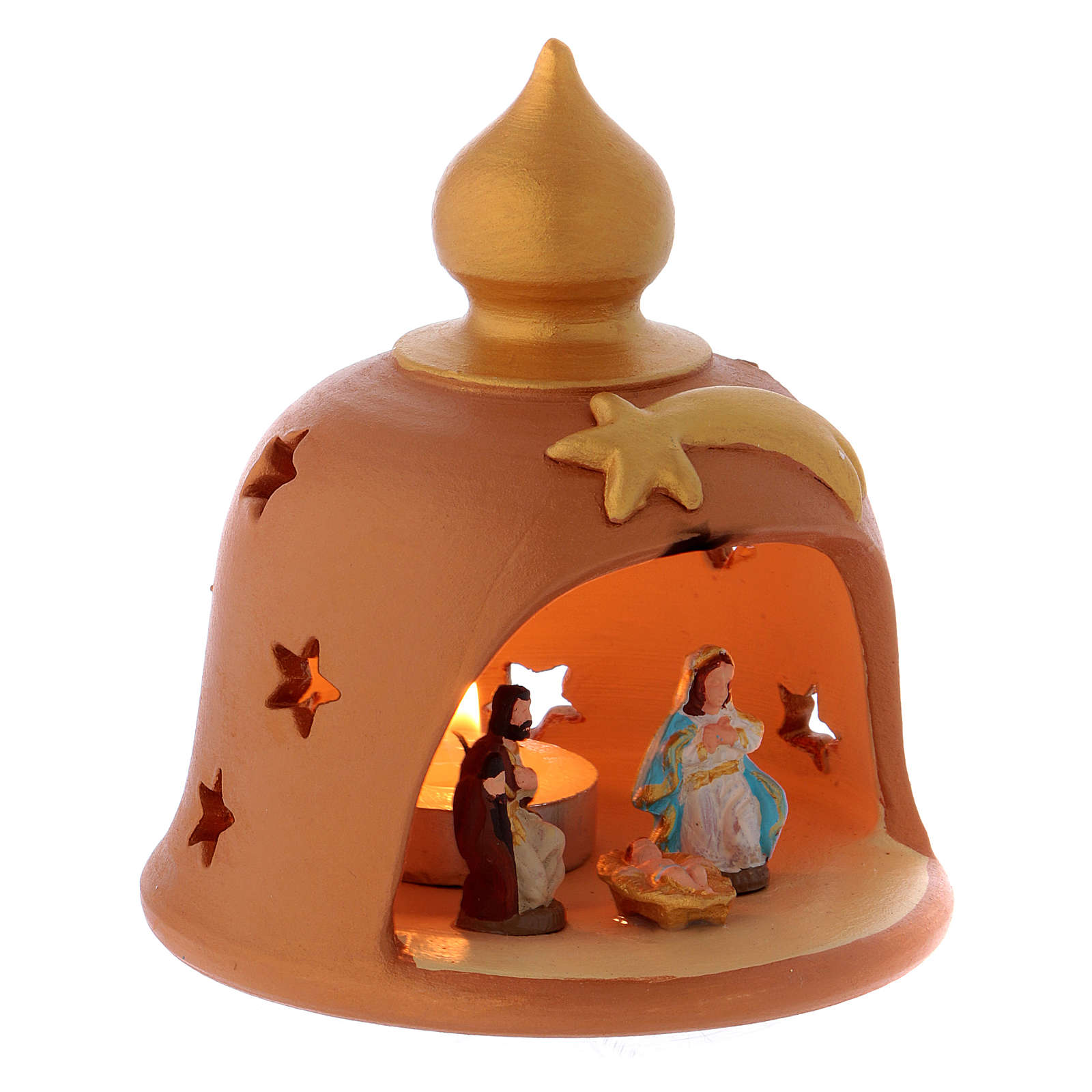 Barn with decorated lights terracotta Deruta 10 cm 4