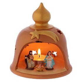 Terracotta Nativity Scene figurines from Deruta: Barn with decorated lights terracotta Deruta 10 cm