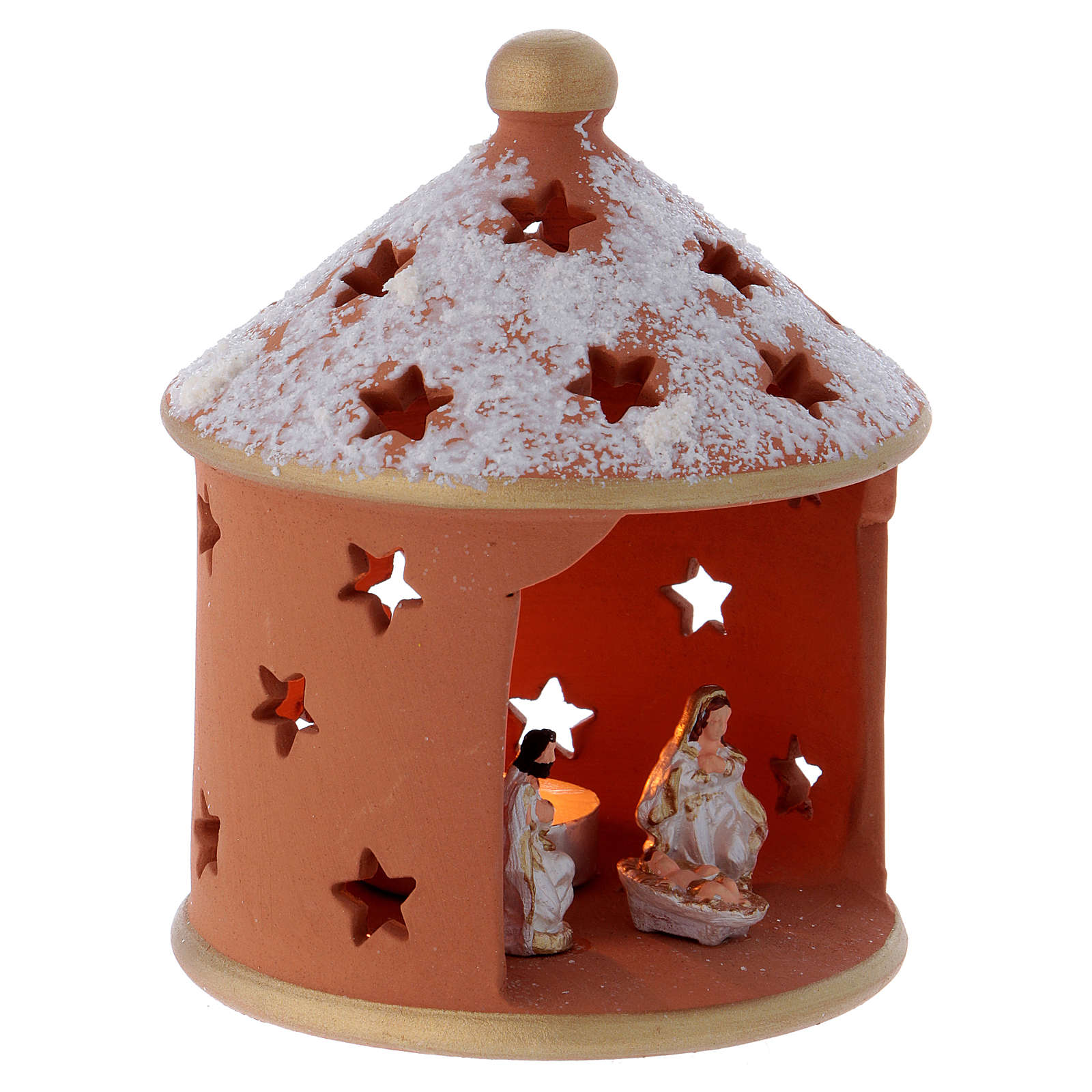 Casetta cilindrica terracotta Deruta Natività 15 cm 4