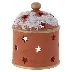 Cylindrical shack lantern in Deruta terracotta with Nativity s4