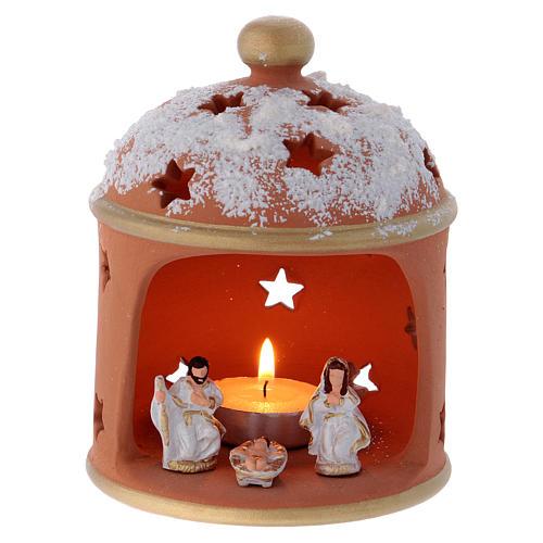 Cylindrical shack lantern in Deruta terracotta with Nativity 1