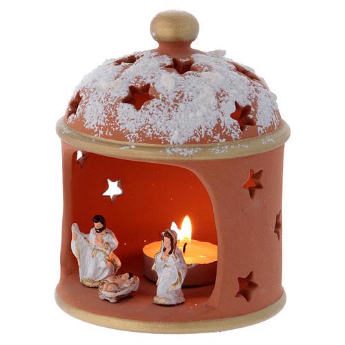 Cylindrical shack lantern in Deruta terracotta with Nativity 2