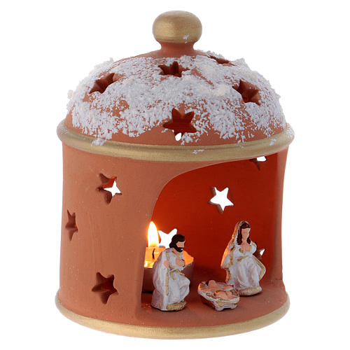 Cylindrical shack lantern in Deruta terracotta with Nativity 3