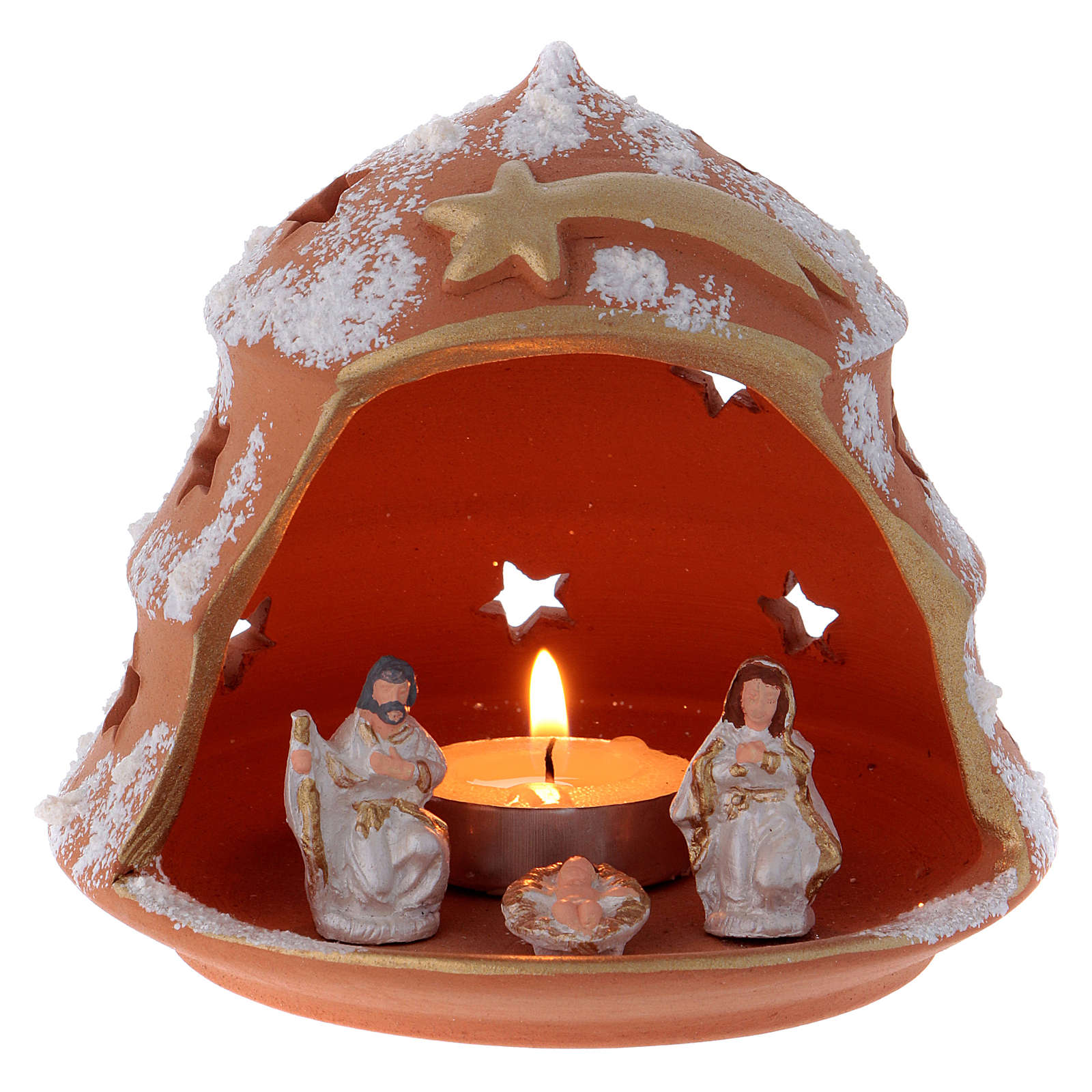 Candle holder in Deruta terracotta with Nativity, tree-shaped 4