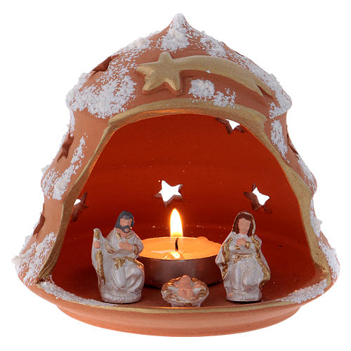 Candle holder in Deruta terracotta with Nativity, tree-shaped 1