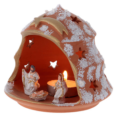 Candle holder in Deruta terracotta with Nativity, tree-shaped 2