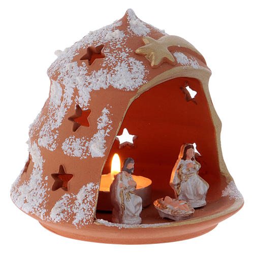 Candle holder in Deruta terracotta with Nativity, tree-shaped 3