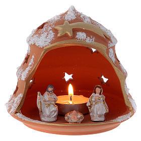 Presépio Terracota Deruta: Árvore lanterna terracota Deruta com Natividade