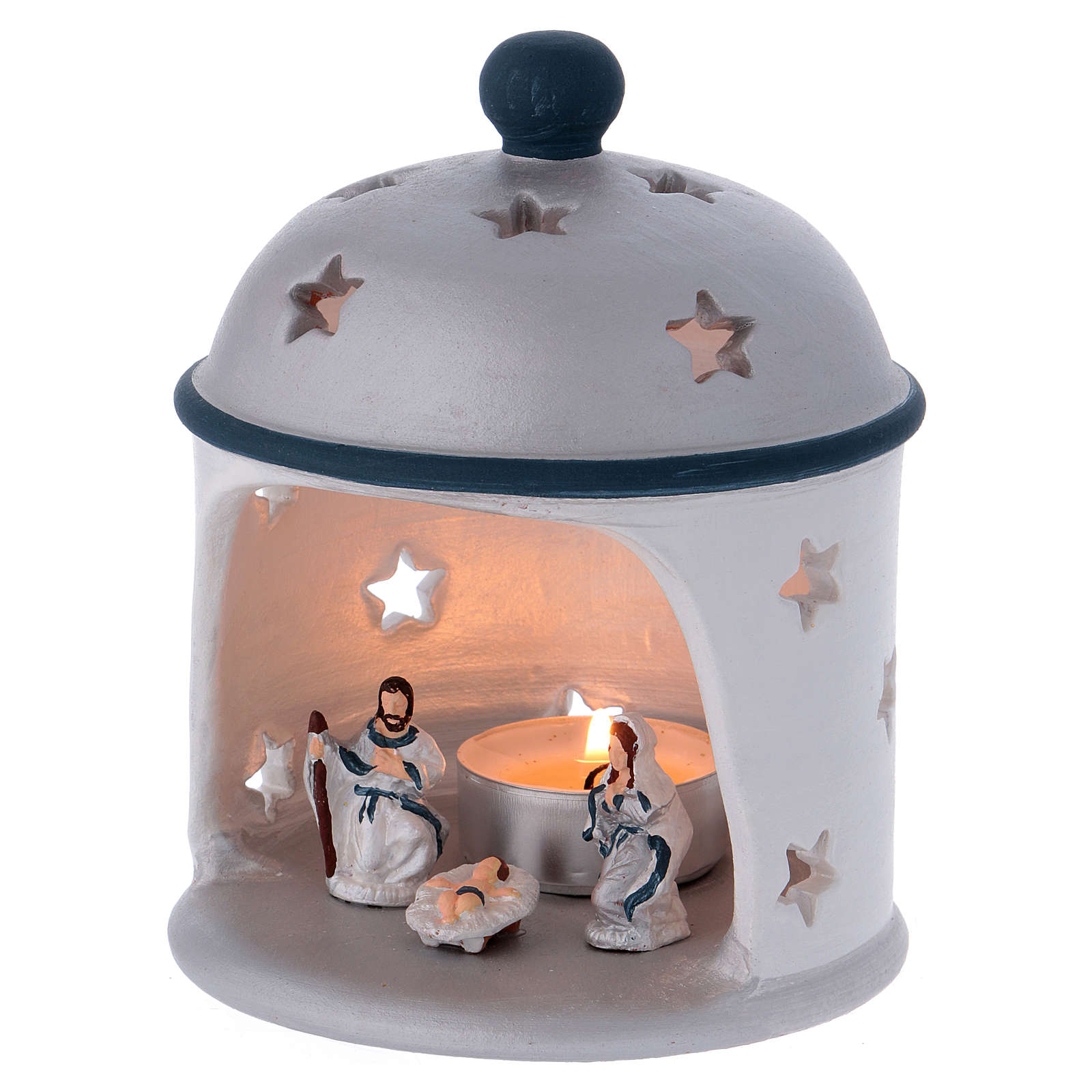 Cylindrical lantern with Nativity in Deruta terracotta, blue and grey 4