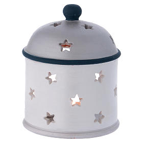 Cylindrical lantern with Nativity in Deruta terracotta, blue and grey s4