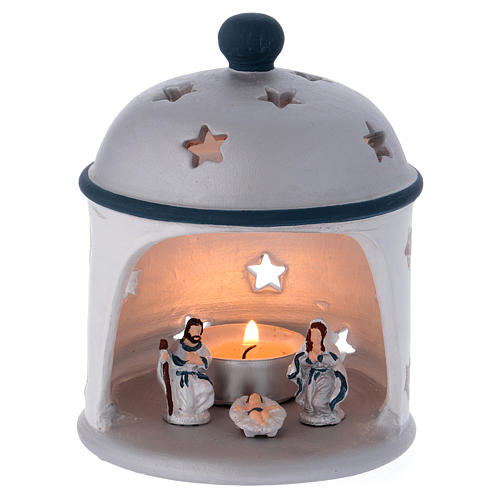 Cylindrical lantern with Nativity in Deruta terracotta, blue and grey 1