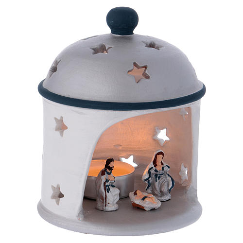 Cylindrical lantern with Nativity in Deruta terracotta, blue and grey 3