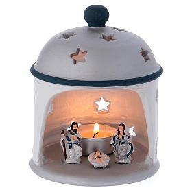 Presépio Terracota Deruta: Cabana lanterna cilíndrica azul e cinzenta terracota Deruta
