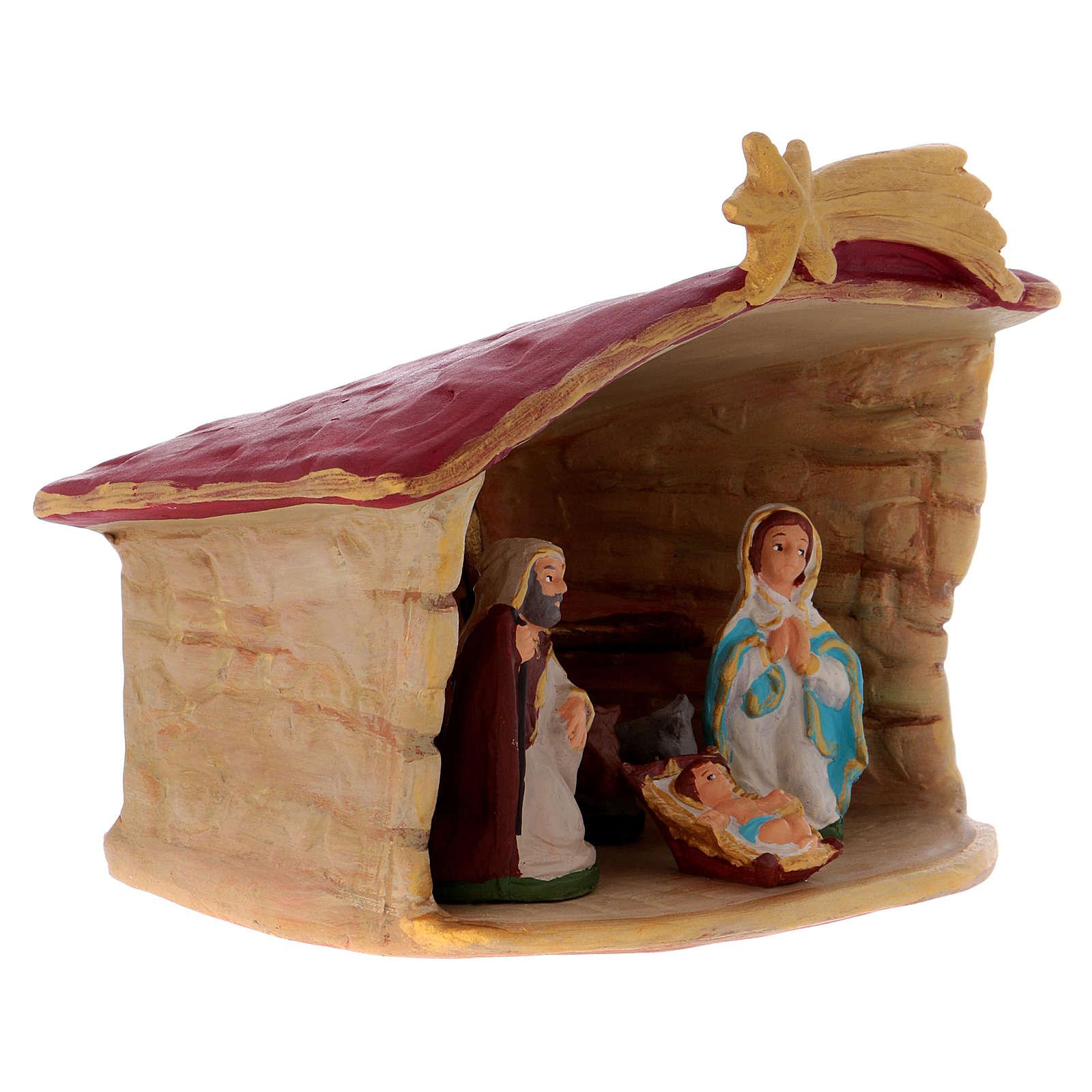 Cabaña de terracota coloreada Deruta con belén 5 piezas y cometa 4