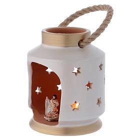 Cylindrical Lantern elegant with Nativity in terracotta Deruta s2