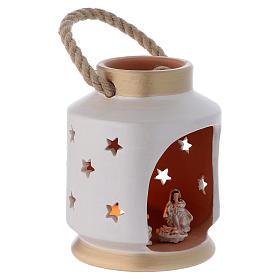 Cylindrical Lantern elegant with Nativity in terracotta Deruta s3