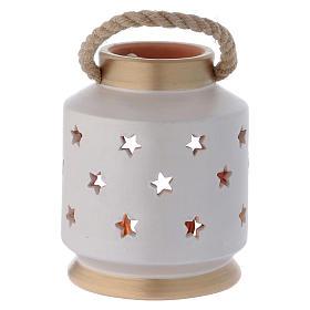 Cylindrical Lantern elegant with Nativity in terracotta Deruta s4