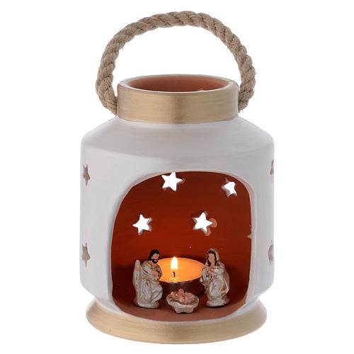 Cylindrical Lantern elegant with Nativity in terracotta Deruta 1