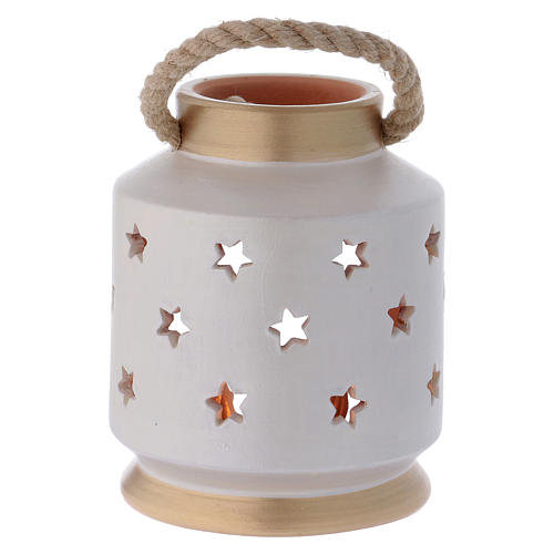 Cylindrical Lantern elegant with Nativity in terracotta Deruta 4