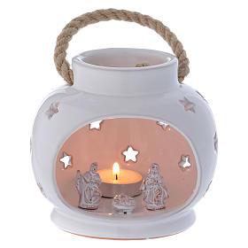 Presépio Terracota Deruta: Lanterna branca brilhante com Natividade em terracota Deruta