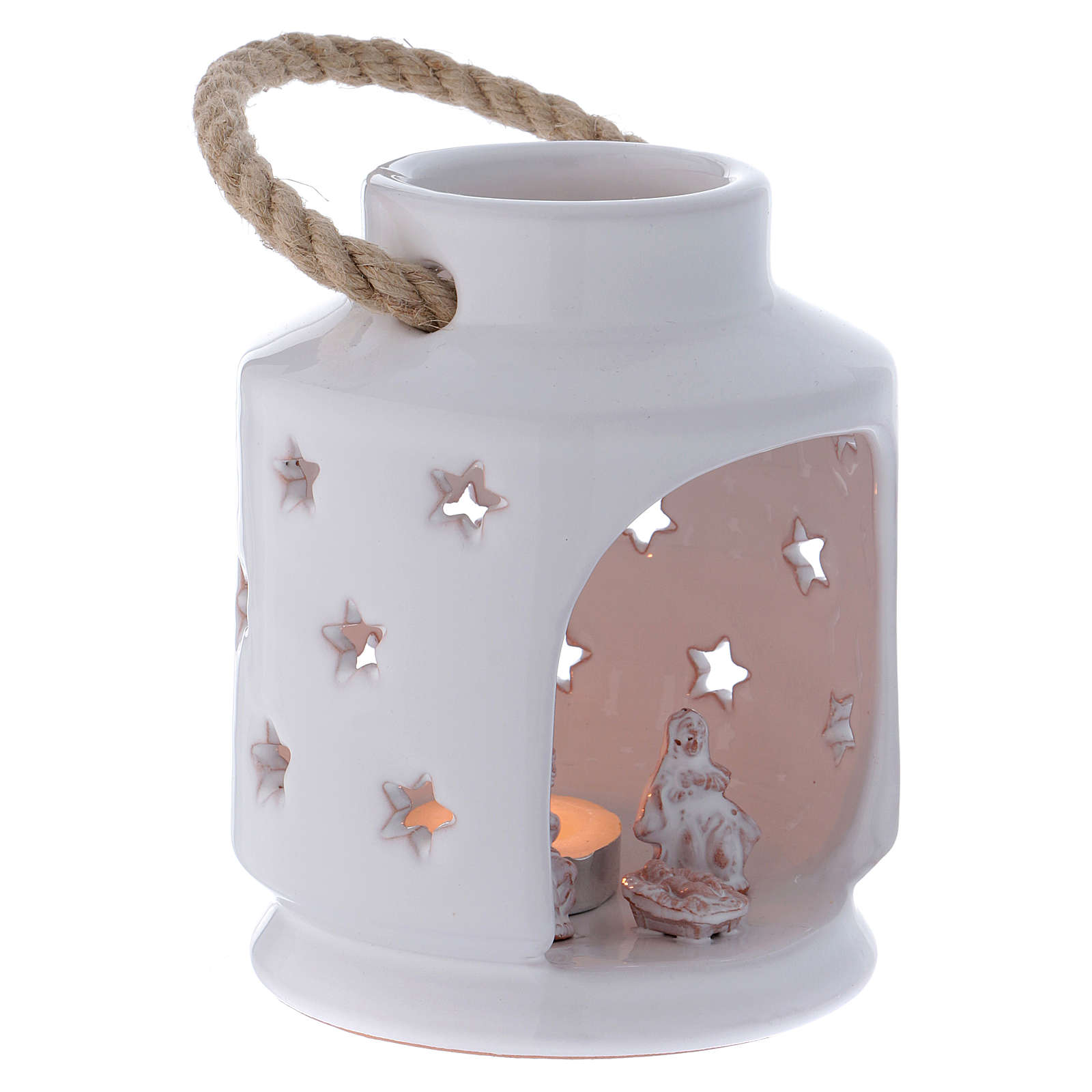 Cylindrical lantern with Nativity in Deruta terracotta, polished white 4