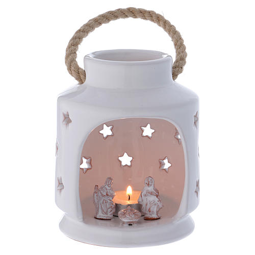 Cylindrical lantern with Nativity in Deruta terracotta, polished white 1