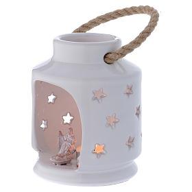 Lanterna cilindrica bianca lucida con Natività in terracotta Deruta s2