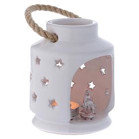 Lanterna cilindrica bianca lucida con Natività in terracotta Deruta s3