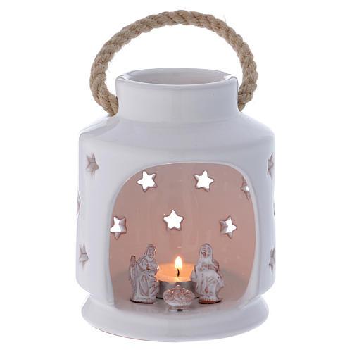 Lanterna cilindrica bianca lucida con Natività in terracotta Deruta 1