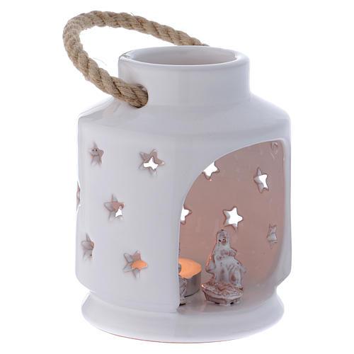 Lanterna cilindrica bianca lucida con Natività in terracotta Deruta 3