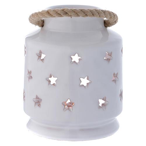 Lanterna cilindrica bianca lucida con Natività in terracotta Deruta 4