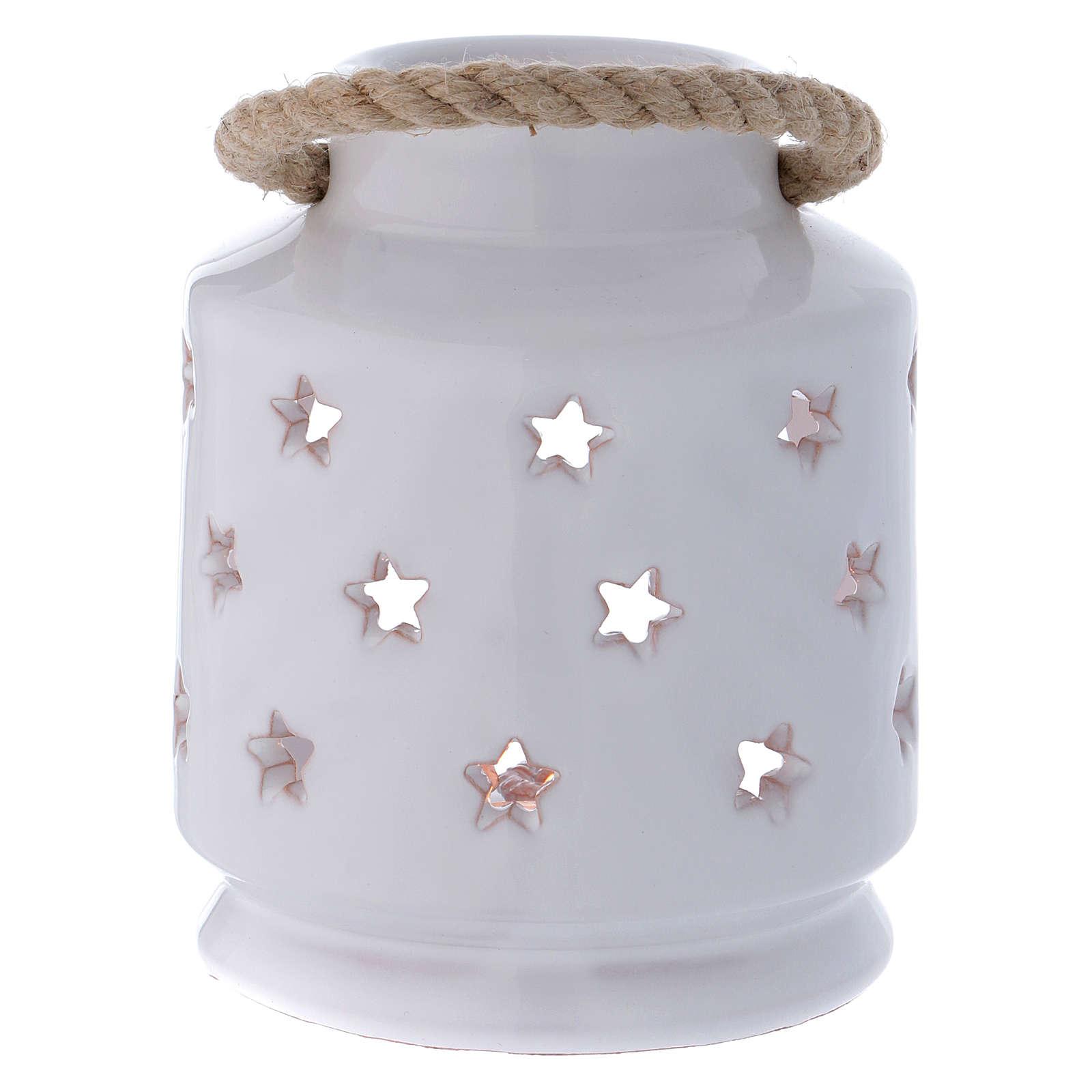 Cylinder Lantern glossy white with Nativity in terracotta Deruta 4