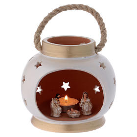 Portable oval lantern with Nativity in Deruta terracotta s1