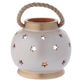 Portable oval lantern with Nativity in Deruta terracotta s4