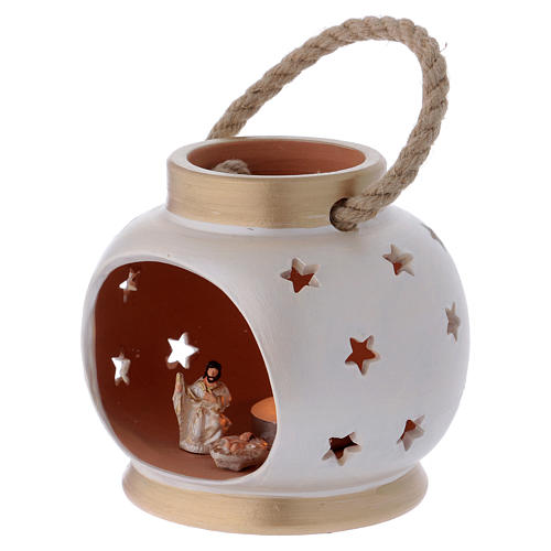 Portable oval lantern with Nativity in Deruta terracotta 2