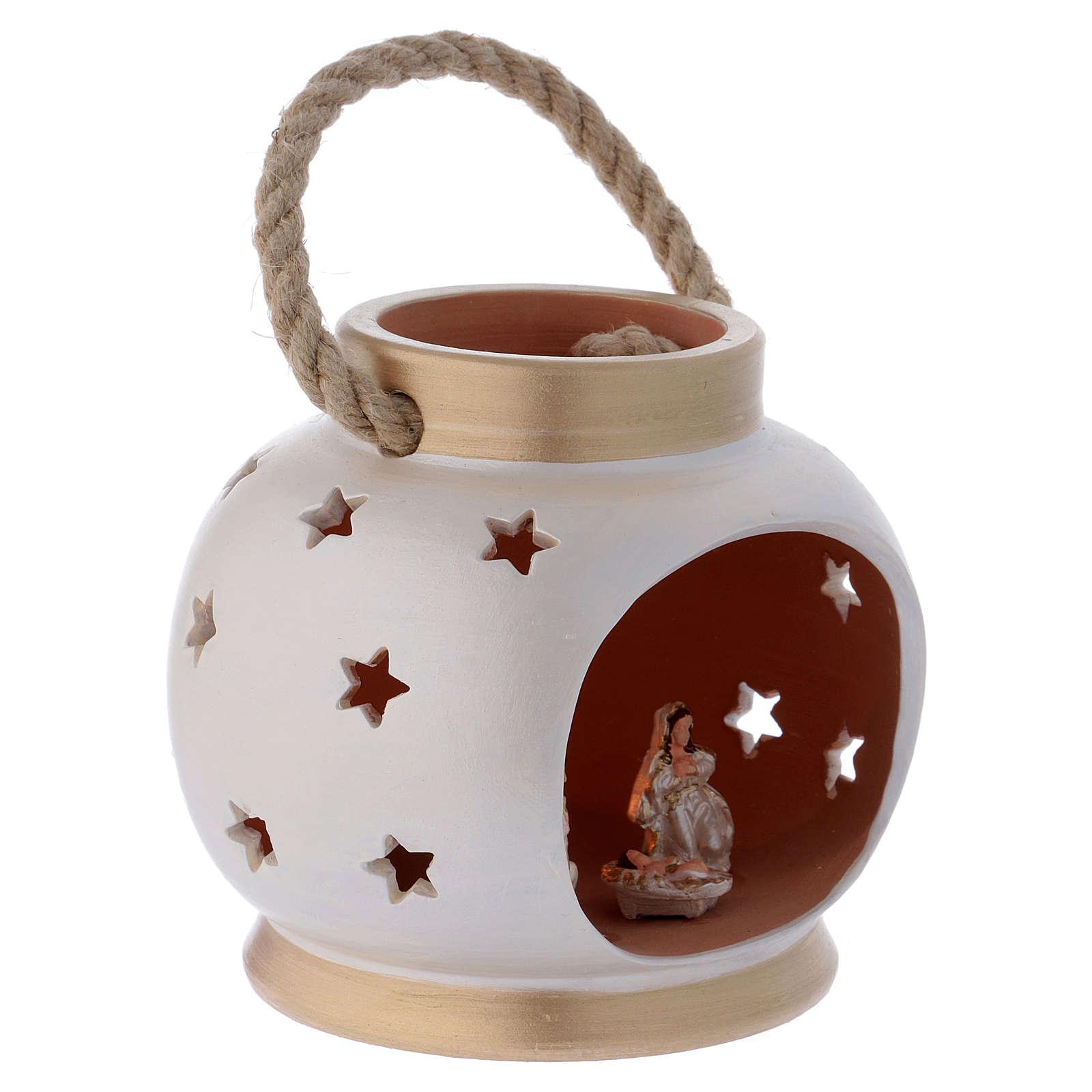 Lanterna portatile ovale elegante con Natività in terracotta Deruta 4