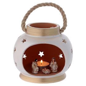 Presépio Terracota Deruta: Lanterna portátil oval elegante com Natividade em terracota Deruta