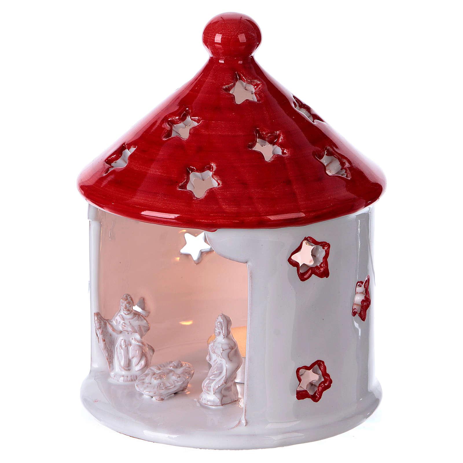 Cabaña blanca lúcida techo rojo con Natividad de terracota Deruta 4