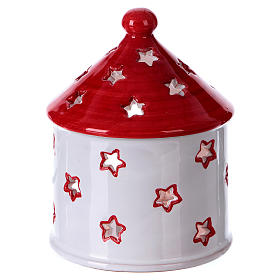 Cabaña blanca lúcida techo rojo con Natividad de terracota Deruta s3
