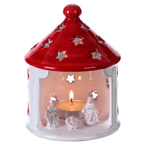 Cabane blanc brillant toit rouge avec Nativité en terre cuite Deruta 1