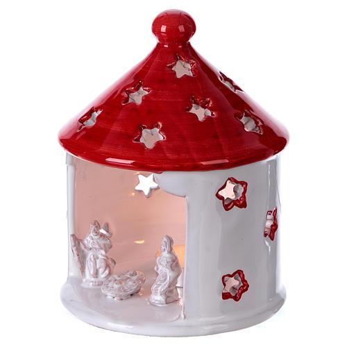 Cabane blanc brillant toit rouge avec Nativité en terre cuite Deruta 2