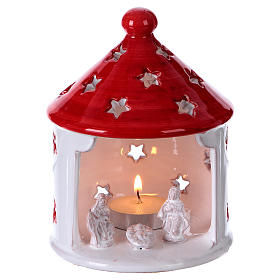 Presépio Terracota Deruta: Cabana branca brilhante teto vermelho com Natividade em terracota Deruta