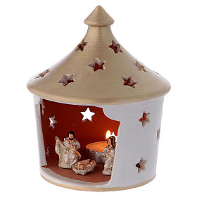 Capannina elegante con tetto a punta forato con scena Natività in terracotta Deruta s2