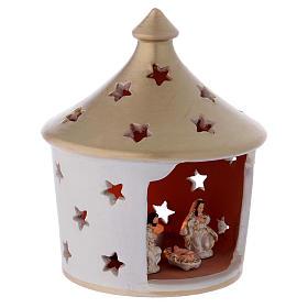 Capannina elegante con tetto a punta forato con scena Natività in terracotta Deruta s3