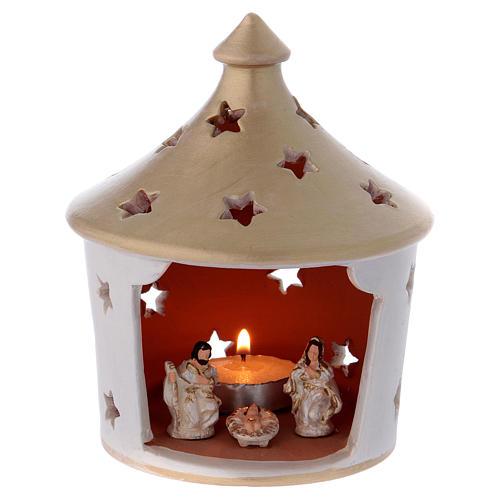 Capannina elegante con tetto a punta forato con scena Natività in terracotta Deruta 1