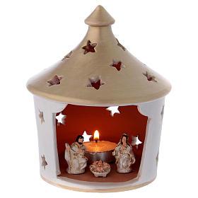 Presépio Terracota Deruta: Cabana elegante com telhado pontiagudo e cena Natividade em terracota Deruta