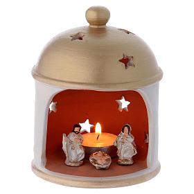 Presépio Terracota Deruta: Cabana elegante com cúpula e Natividade em terracota Deruta