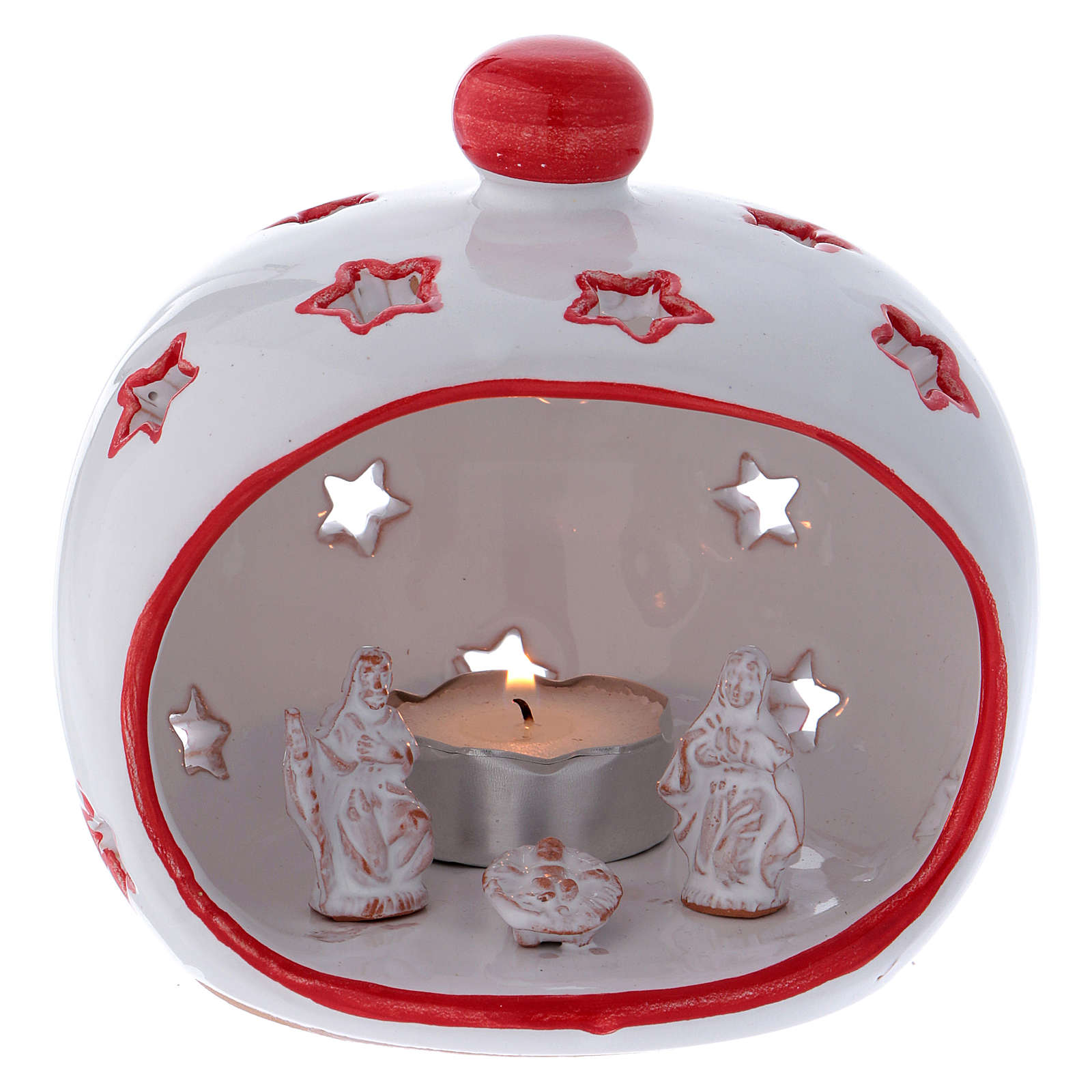 Oval candle holder with Nativity and red decorations in Deruta terracotta 3