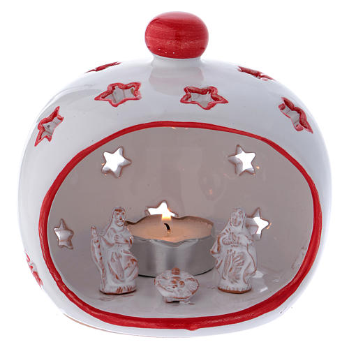 Oval candle holder with Nativity and red decorations in Deruta terracotta 1